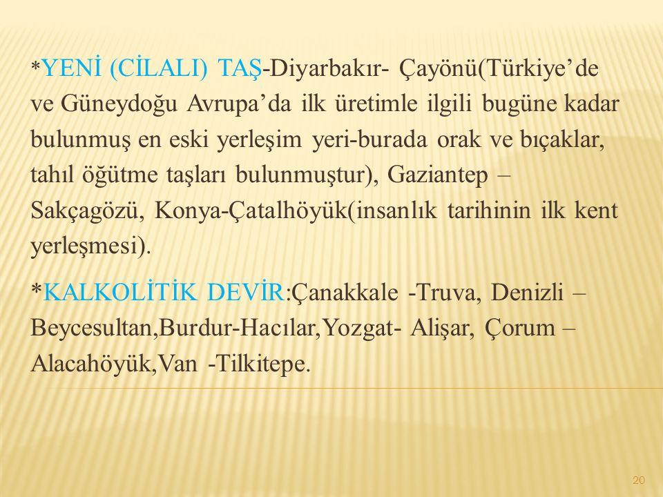 * YENİ (CİLALI) TAŞ-Diyarbakır- Çayönü(Türkiye'de ve Güneydoğu Avrupa'da ilk üretimle ilgili bugüne kadar bulunmuş en eski yerleşim yeri-burada orak v