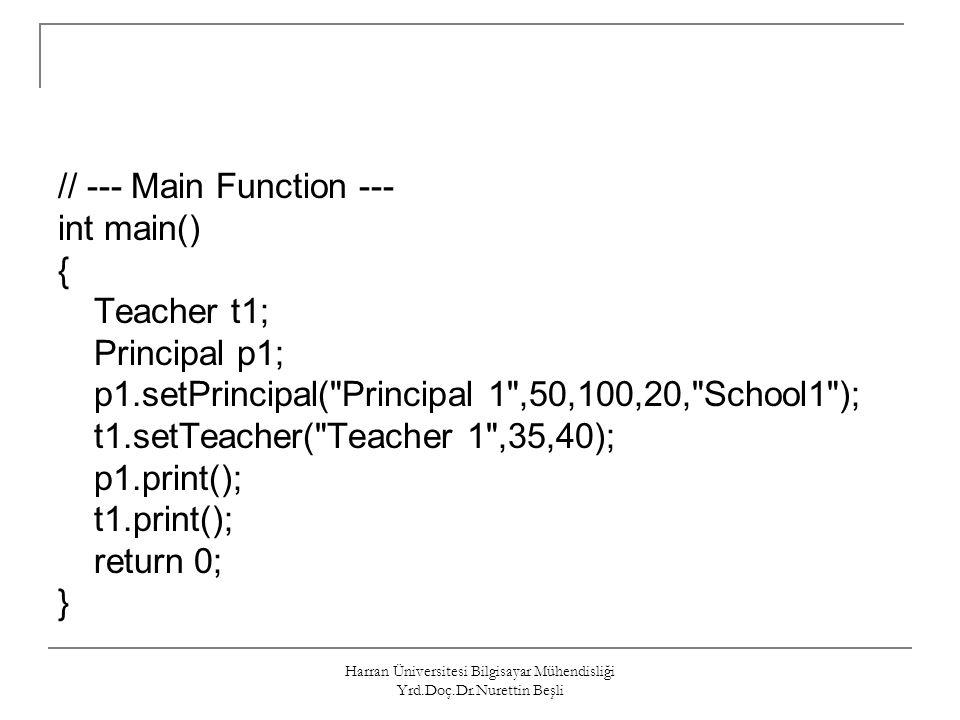 Harran Üniversitesi Bilgisayar Mühendisliği Yrd.Doç.Dr.Nurettin Beşli // --- Main Function --- int main() { Teacher t1; Principal p1; p1.setPrincipal(