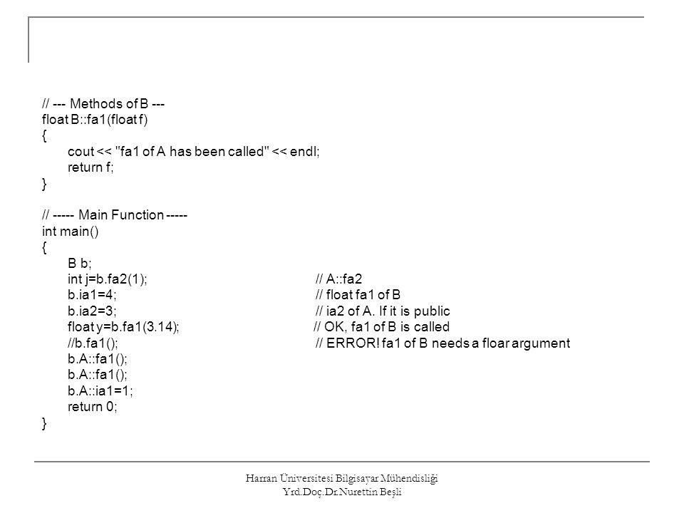 Harran Üniversitesi Bilgisayar Mühendisliği Yrd.Doç.Dr.Nurettin Beşli // --- Methods of B --- float B::fa1(float f) { cout <<