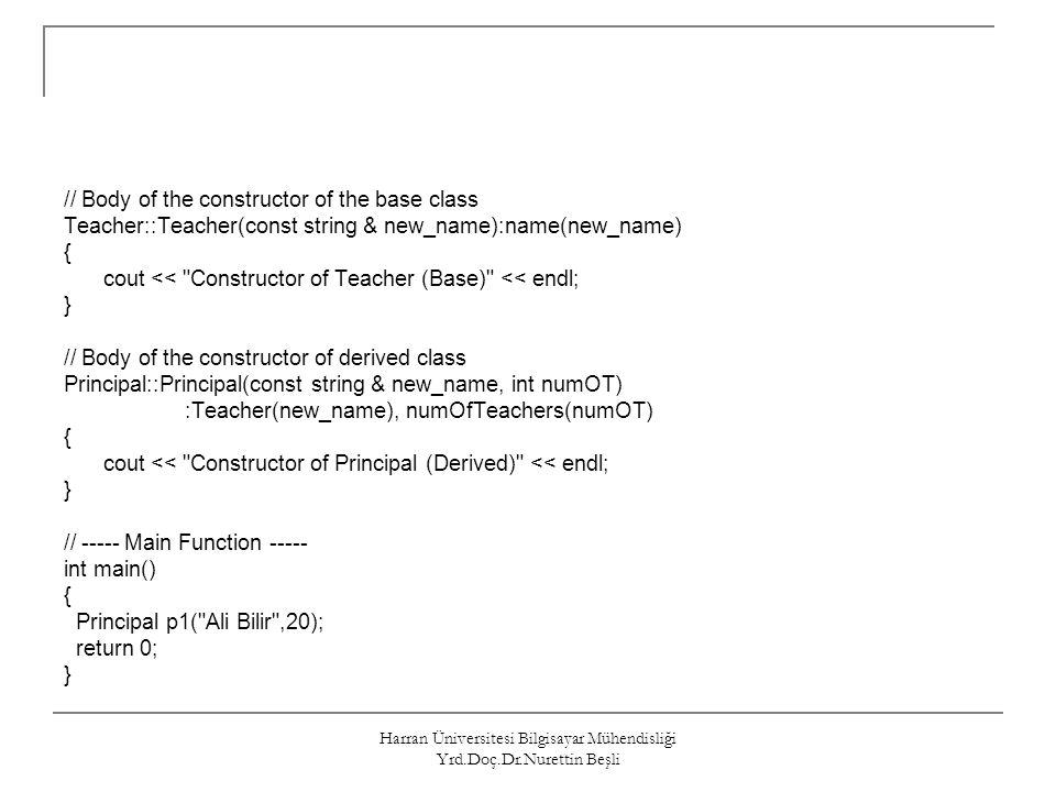 Harran Üniversitesi Bilgisayar Mühendisliği Yrd.Doç.Dr.Nurettin Beşli // Body of the constructor of the base class Teacher::Teacher(const string & new