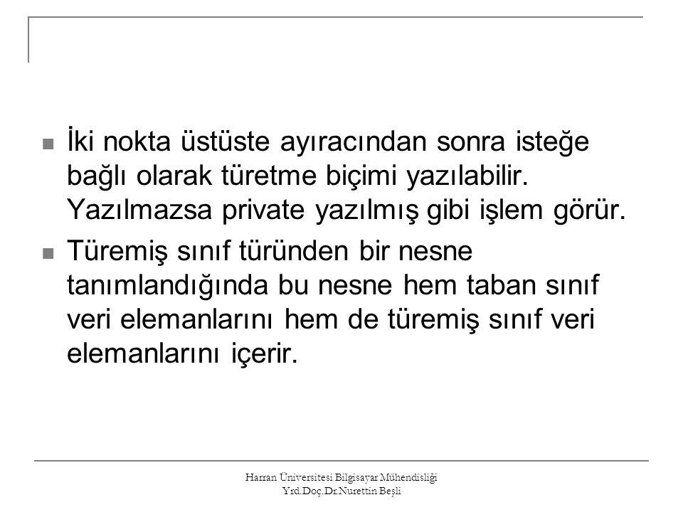 Harran Üniversitesi Bilgisayar Mühendisliği Yrd.Doç.Dr.Nurettin Beşli Türemiş Sınıf Nesnesinin Bellekteki Organizasyonu Örnek: /*-----turetme.cpp-----*/ #include class A { public: int a; }; class B:public A { public: int b; }; void main(void) { B x; printf( %d\n , sizeof(x)); } /*------------------------*/