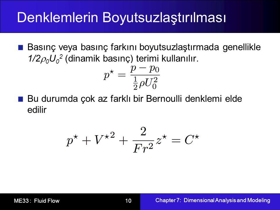 Chapter 7: Dimensional Analysis and Modeling ME33 : Fluid Flow 10 Denklemlerin Boyutsuzlaştırılması Basınç veya basınç farkını boyutsuzlaştırmada genellikle 1/2  0 U 0 2 (dinamik basınç) terimi kullanılır.