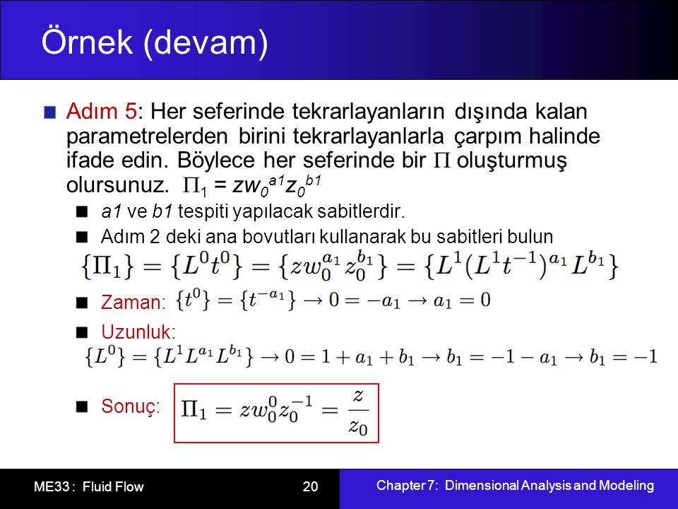 Chapter 7: Dimensional Analysis and Modeling ME33 : Fluid Flow 20 Örnek (devam) Adım 5: Her seferinde tekrarlayanların dışında kalan parametrelerden birini tekrarlayanlarla çarpım halinde ifade edin.