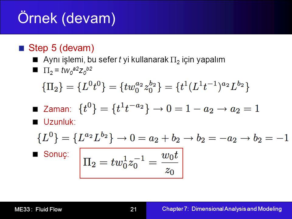 Chapter 7: Dimensional Analysis and Modeling ME33 : Fluid Flow 21 Örnek (devam) Step 5 (devam) Aynı işlemi, bu sefer t yi kullanarak  2 için yapalım  2 = tw 0 a2 z 0 b2 Zaman: Uzunluk: Sonuç: