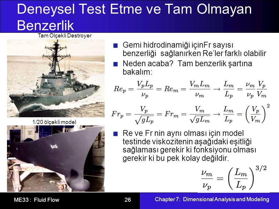 Chapter 7: Dimensional Analysis and Modeling ME33 : Fluid Flow 26 Deneysel Test Etme ve Tam Olmayan Benzerlik Gemi hidrodinamiği içinFr sayısı benzerliği sağlanırken Re'ler farklı olabilir Neden acaba.