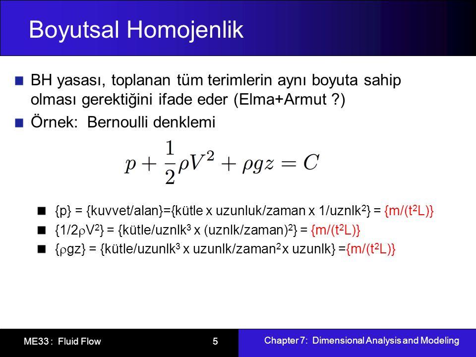 Chapter 7: Dimensional Analysis and Modeling ME33 : Fluid Flow 5 Boyutsal Homojenlik BH yasası, toplanan tüm terimlerin aynı boyuta sahip olması gerektiğini ifade eder (Elma+Armut ?) Örnek: Bernoulli denklemi {p} = {kuvvet/alan}={kütle x uzunluk/zaman x 1/uznlk 2 } = {m/(t 2 L)} {1/2  V 2 } = {kütle/uznlk 3 x (uznlk/zaman) 2 } = {m/(t 2 L)} {  gz} = {kütle/uzunlk 3 x uzunlk/zaman 2 x uzunlk} ={m/(t 2 L)}