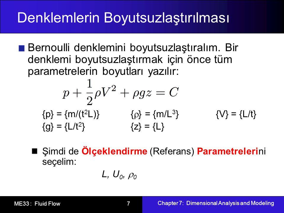 Chapter 7: Dimensional Analysis and Modeling ME33 : Fluid Flow 7 Denklemlerin Boyutsuzlaştırılması Bernoulli denklemini boyutsuzlaştıralım.
