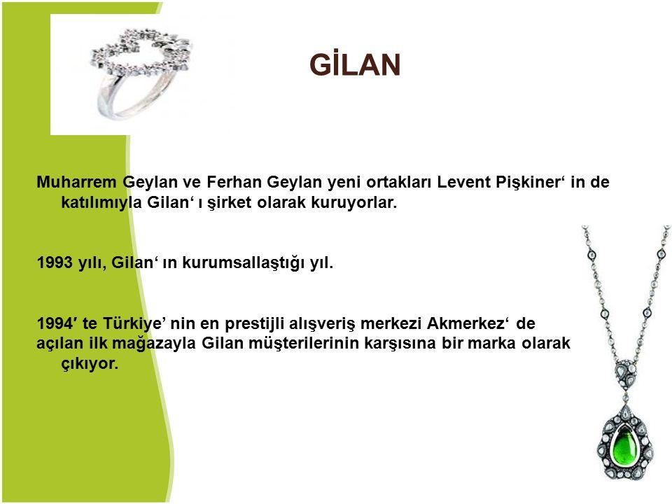 GİLAN Muharrem Geylan ve Ferhan Geylan yeni ortakları Levent Pişkiner' in de katılımıyla Gilan' ı şirket olarak kuruyorlar. 1993 yılı, Gilan' ın kurum