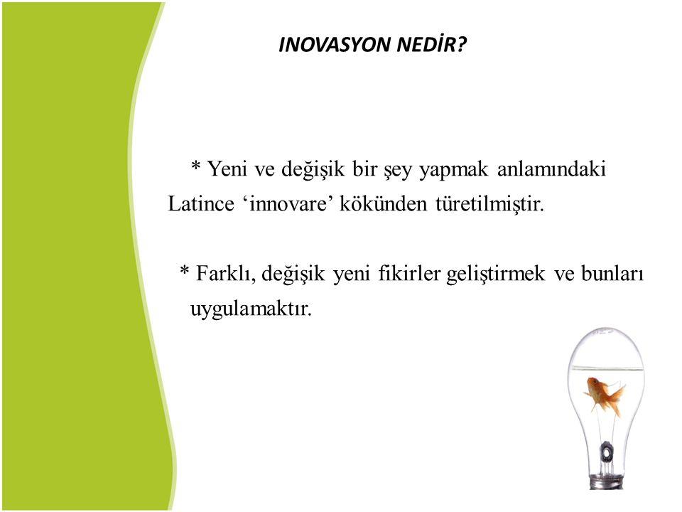 * Yeni ve değişik bir şey yapmak anlamındaki Latince 'innovare' kökünden türetilmiştir. * Farklı, değişik yeni fikirler geliştirmek ve bunları uygulam