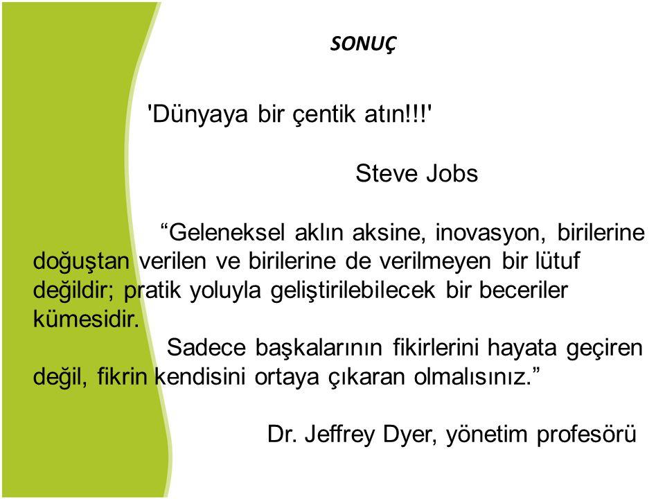 """SONUÇ 'Dünyaya bir çentik atın!!!' Steve Jobs """"Geleneksel aklın aksine, inovasyon, birilerine doğuştan verilen ve birilerine de verilmeyen bir lütuf d"""