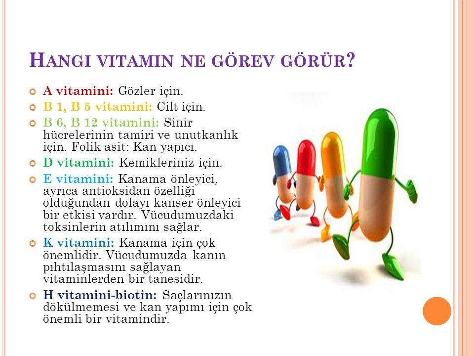 H ANGI VITAMIN NE GÖREV GÖRÜR ? A vitamini: Gözler için. B 1, B 5 vitamini: Cilt için. B 6, B 12 vitamini: Sinir hücrelerinin tamiri ve unutkanlık içi