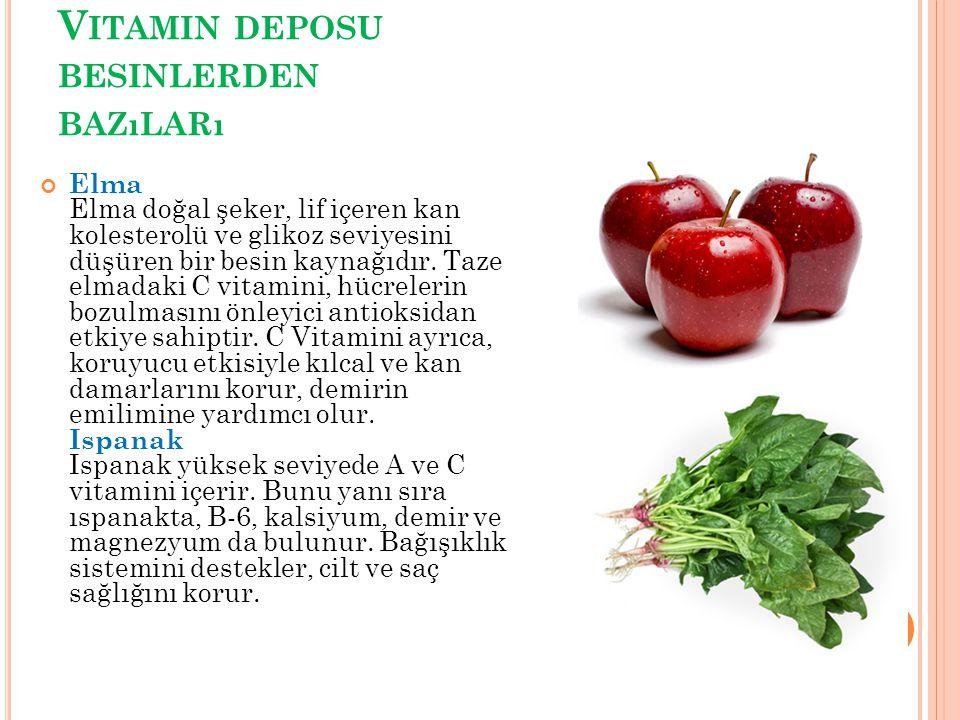 V ITAMIN DEPOSU BESINLERDEN BAZıLARı Elma Elma doğal şeker, lif içeren kan kolesterolü ve glikoz seviyesini düşüren bir besin kaynağıdır. Taze elmadak