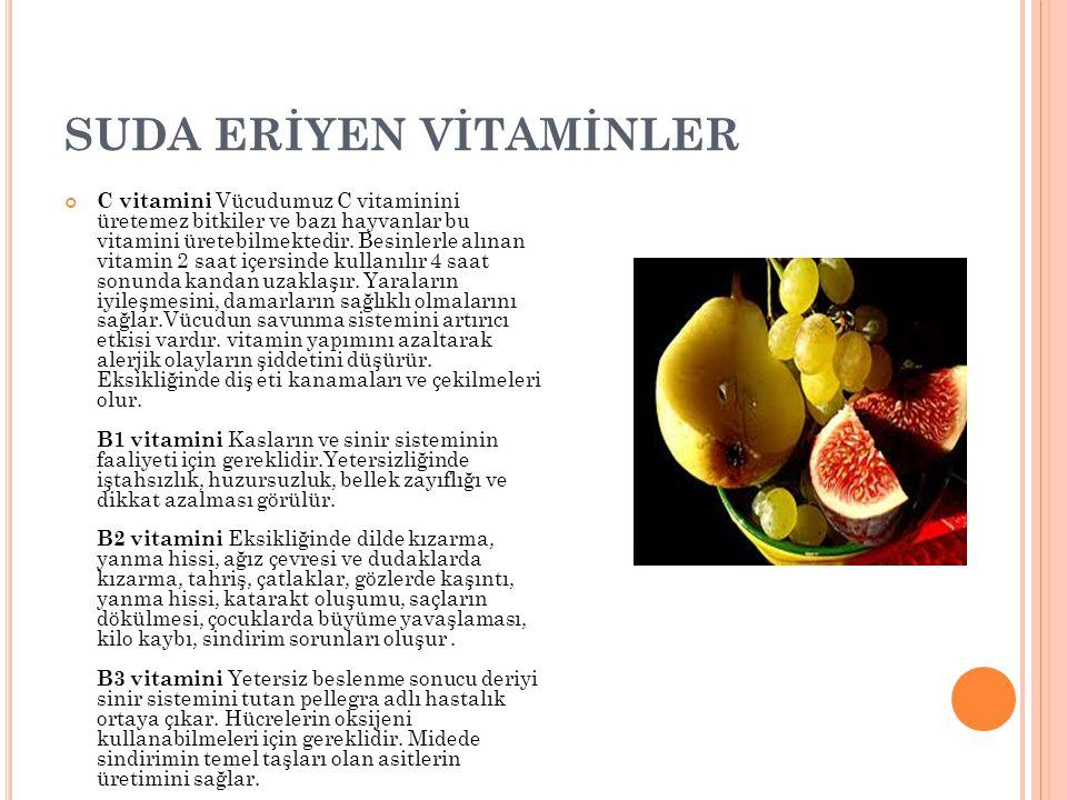 SUDA ERİYEN VİTAMİNLER C vitamini Vücudumuz C vitaminini üretemez bitkiler ve bazı hayvanlar bu vitamini üretebilmektedir. Besinlerle alınan vitamin 2