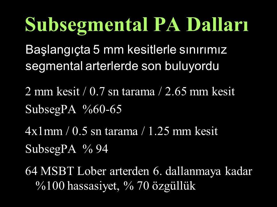 Subsegmental PA Dalları 2 mm kesit / 0.7 sn tarama / 2.65 mm kesit SubsegPA %60-65 4x1mm / 0.5 sn tarama / 1.25 mm kesit SubsegPA % 94 64 MSBT Lober arterden 6.