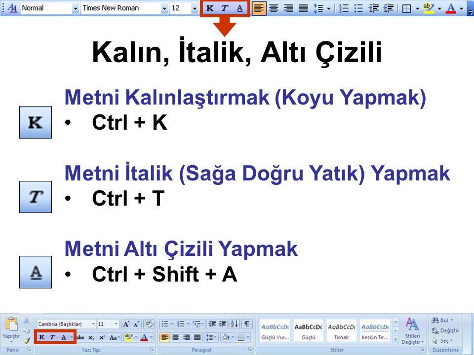Kalın, İtalik, Altı Çizili Metni Kalınlaştırmak (Koyu Yapmak) Ctrl + K Metni İtalik (Sağa Doğru Yatık) Yapmak Ctrl + T Metni Altı Çizili Yapmak Ctrl +