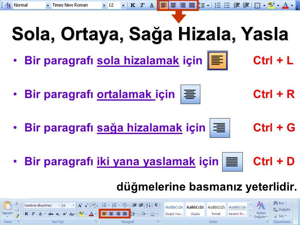 Sola, Ortaya, Sağa Hizala, Yasla Bir paragrafı sola hizalamak içinCtrl + L Bir paragrafı ortalamak içinCtrl + R Bir paragrafı sağa hizalamak içinCtrl