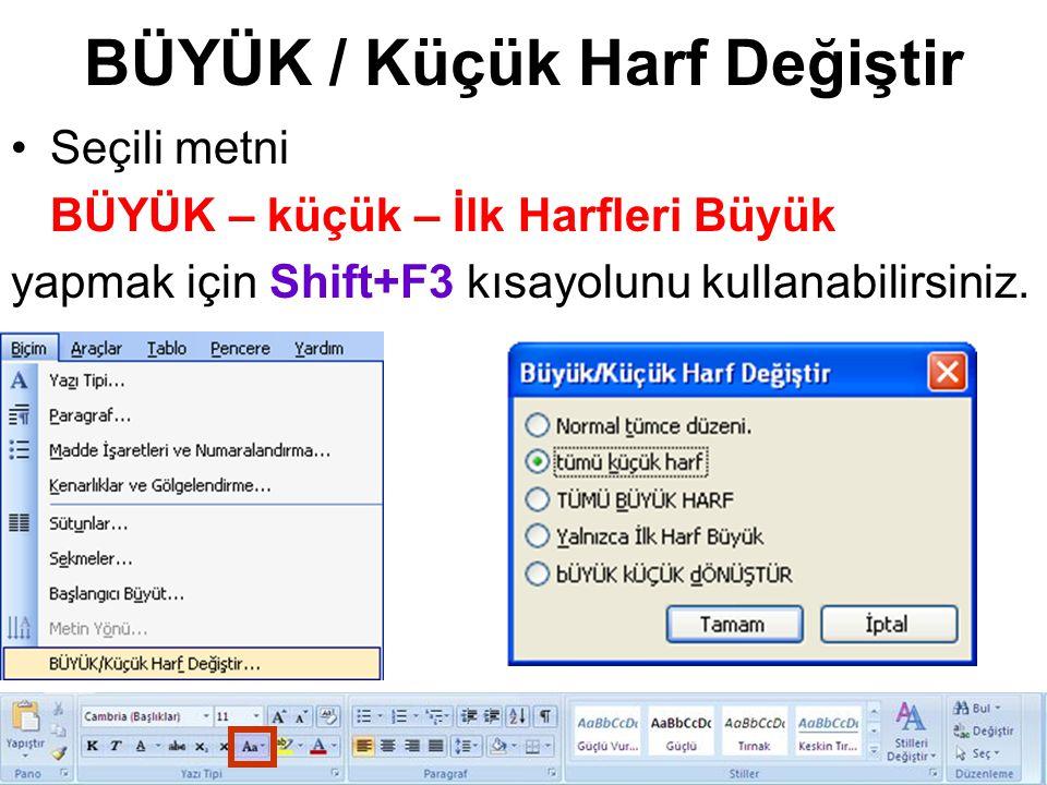 BÜYÜK / Küçük Harf Değiştir Seçili metni BÜYÜK – küçük – İlk Harfleri Büyük yapmak için Shift+F3 kısayolunu kullanabilirsiniz.