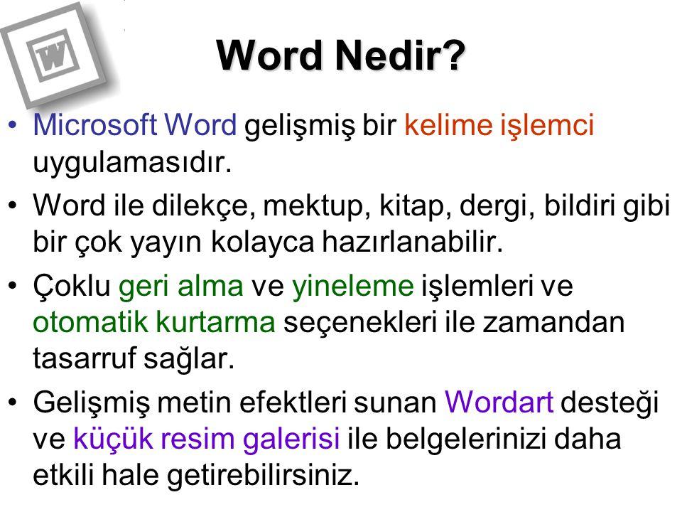 Word Nedir? Microsoft Word gelişmiş bir kelime işlemci uygulamasıdır. Word ile dilekçe, mektup, kitap, dergi, bildiri gibi bir çok yayın kolayca hazır