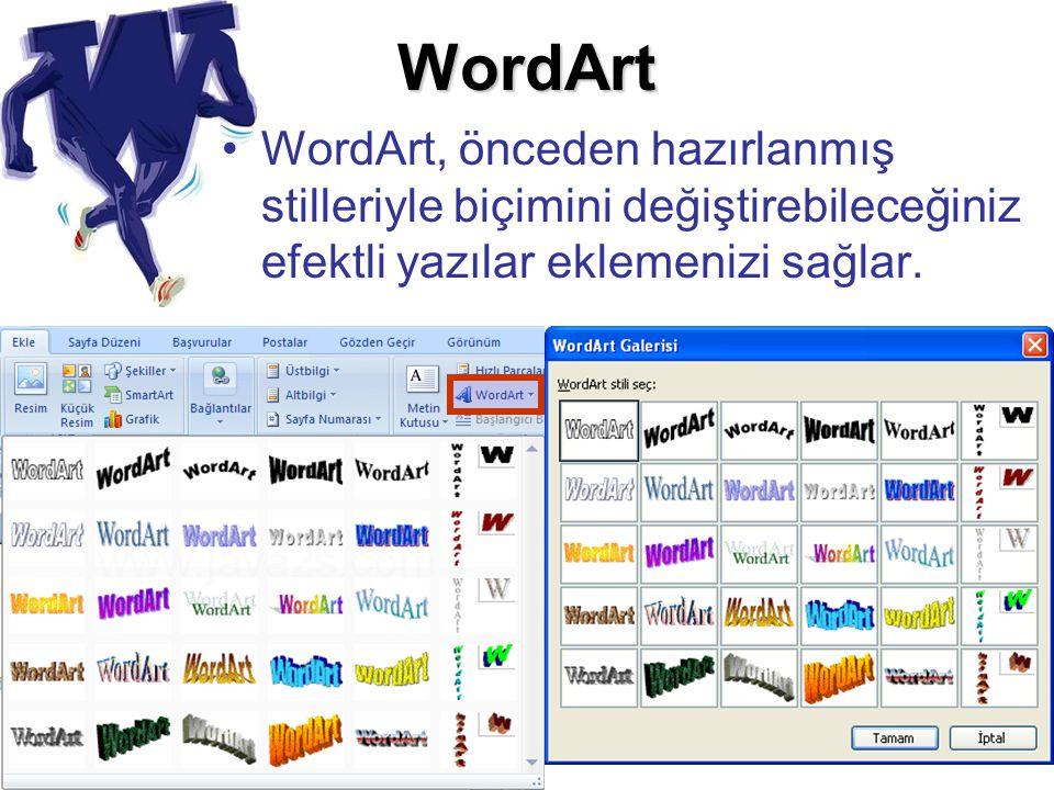 WordArt WordArt, önceden hazırlanmış stilleriyle biçimini değiştirebileceğiniz efektli yazılar eklemenizi sağlar.