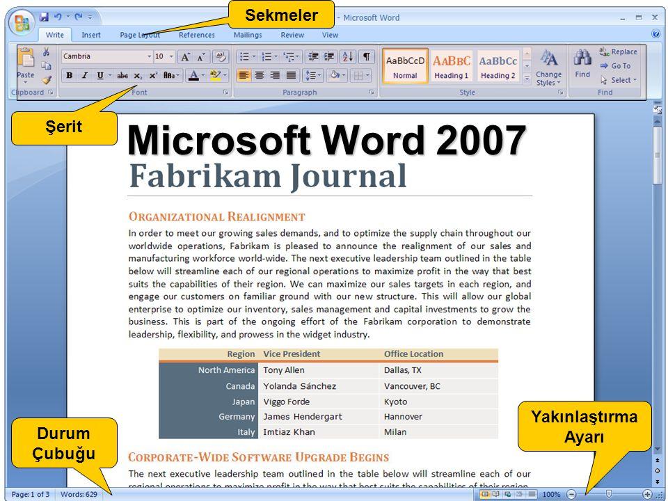 Office Fluent Arabirimi ve Şerit Office Fluent kullanıcı arabiriminde, geleneksel menülerin ve araç çubuklarının yerini, komutları bir dizi sekmede düzenlenmiş halde sunan bir aygıt olarak Şerit almıştır.