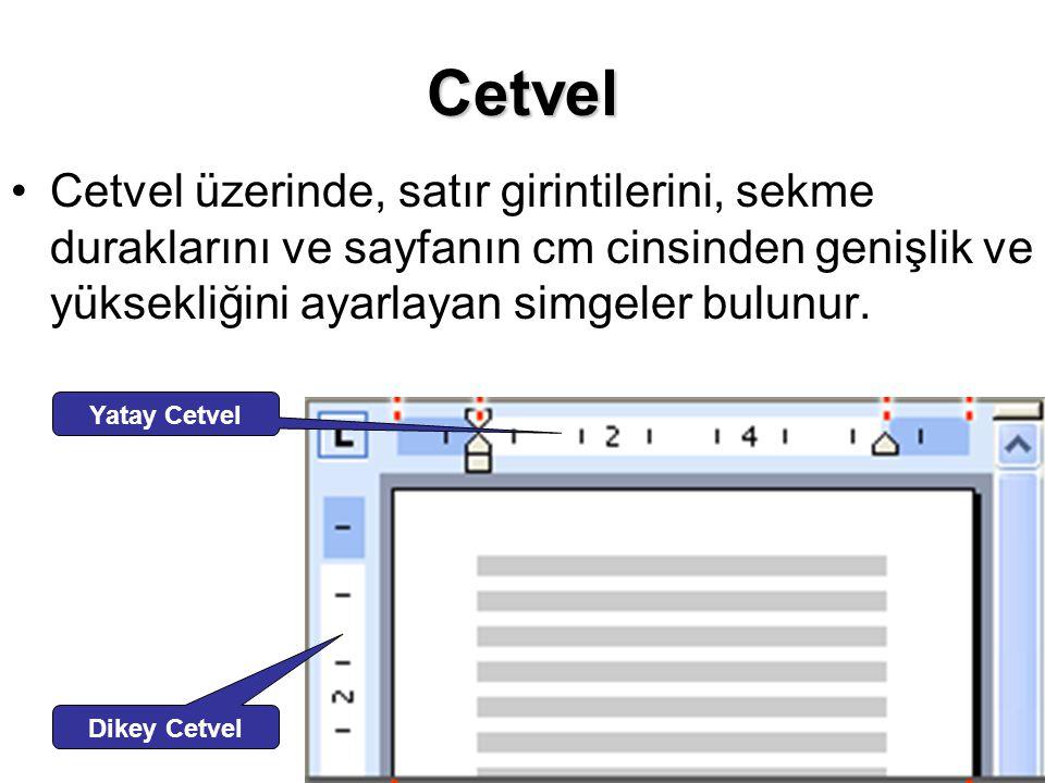 Cetvel Cetvel üzerinde, satır girintilerini, sekme duraklarını ve sayfanın cm cinsinden genişlik ve yüksekliğini ayarlayan simgeler bulunur. Yatay Cet