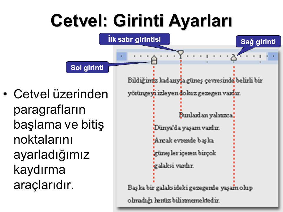 Cetvel: Girinti Ayarları Cetvel üzerinden paragrafların başlama ve bitiş noktalarını ayarladığımız kaydırma araçlarıdır. Sol girinti Sağ girinti İlk s