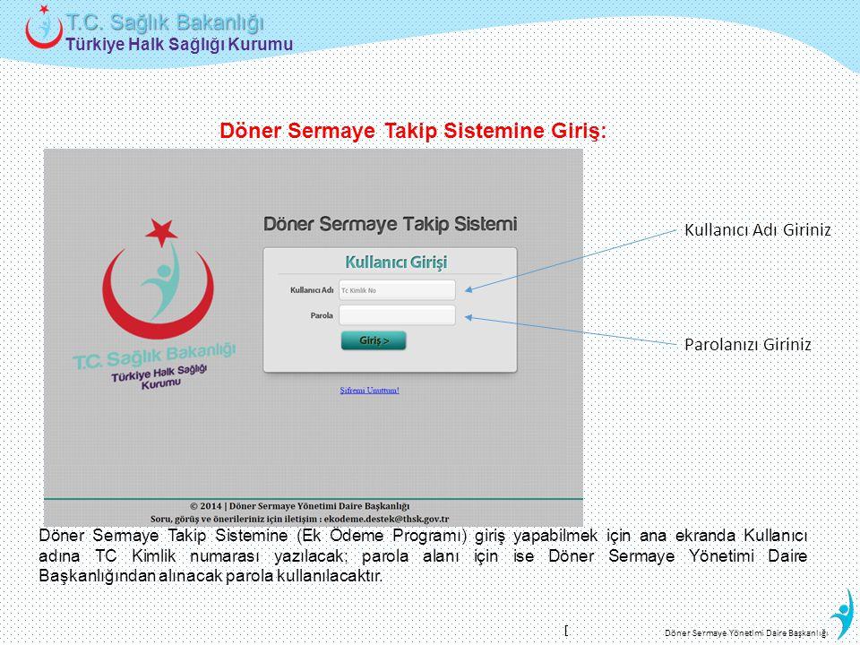 Türkiye Halk Sağlığı Kurumu T.C. Sağlık Bakanlığı Döner Sermaye Yönetimi Daire Başkanlığı Parolanızı Giriniz Döner Sermaye Takip Sistemine (Ek Ödeme P