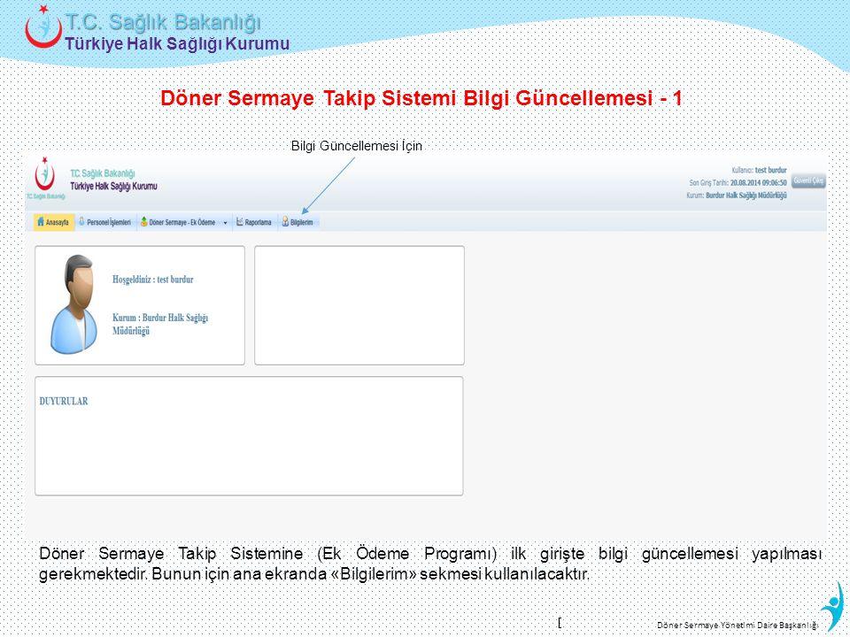 Türkiye Halk Sağlığı Kurumu T.C. Sağlık Bakanlığı Döner Sermaye Yönetimi Daire Başkanlığı Bilgi Güncellemesi İçin Döner Sermaye Takip Sistemi Bilgi Gü