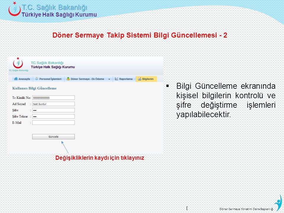 Türkiye Halk Sağlığı Kurumu T.C. Sağlık Bakanlığı Döner Sermaye Yönetimi Daire Başkanlığı Değişikliklerin kaydı için tıklayınız  Bilgi Güncelleme ekr