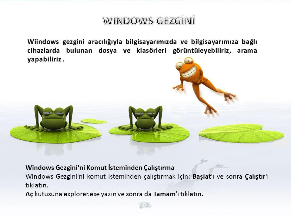 Windows Gezgini ni Komut İsteminden Çalıştırma Windows Gezgini ni komut isteminden çalıştırmak için: Başlat ı ve sonra Çalıştır ı tıklatın.