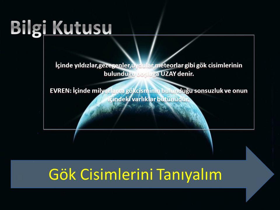 İçinde yıldızlar,gezegenler,uydular,meteorlar gibi gök cisimlerinin bulunduğu boşluğa UZAY denir.