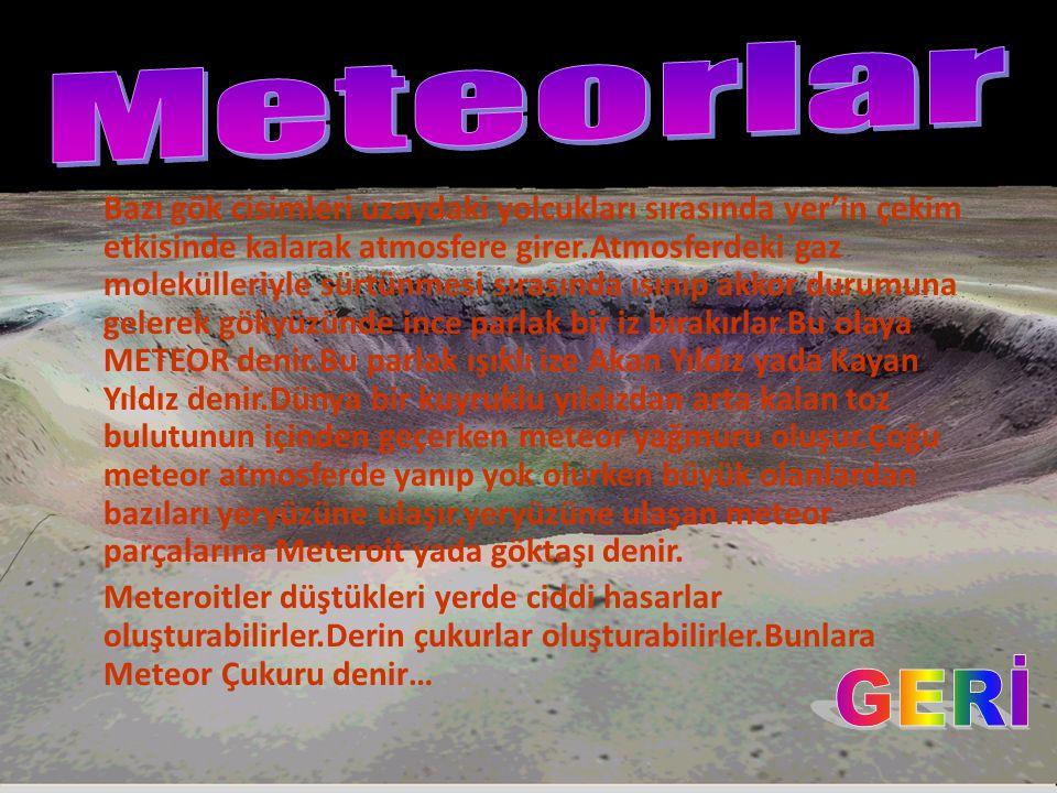 Bazı gök cisimleri uzaydaki yolcukları sırasında yer'in çekim etkisinde kalarak atmosfere girer.Atmosferdeki gaz molekülleriyle sürtünmesi sırasında ısınıp akkor durumuna gelerek gökyüzünde ince parlak bir iz bırakırlar.Bu olaya METEOR denir.Bu parlak ışıklı ize Akan Yıldız yada Kayan Yıldız denir.Dünya bir kuyruklu yıldızdan arta kalan toz bulutunun içinden geçerken meteor yağmuru oluşur.Çoğu meteor atmosferde yanıp yok olurken büyük olanlardan bazıları yeryüzüne ulaşır.yeryüzüne ulaşan meteor parçalarına Meteroit yada göktaşı denir.