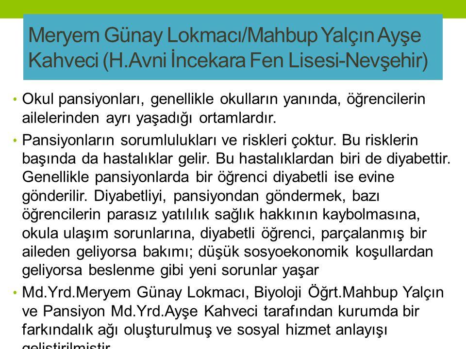 Meryem Günay Lokmacı/Mahbup Yalçın Ayşe Kahveci (H.Avni İncekara Fen Lisesi-Nevşehir) Okul pansiyonları, genellikle okulların yanında, öğrencilerin ailelerinden ayrı yaşadığı ortamlardır.