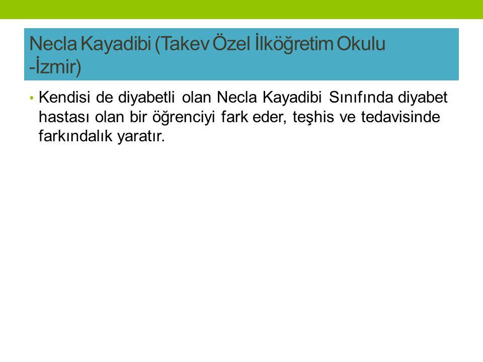 Necla Kayadibi (Takev Özel İlköğretim Okulu -İzmir) Kendisi de diyabetli olan Necla Kayadibi Sınıfında diyabet hastası olan bir öğrenciyi fark eder, teşhis ve tedavisinde farkındalık yaratır.