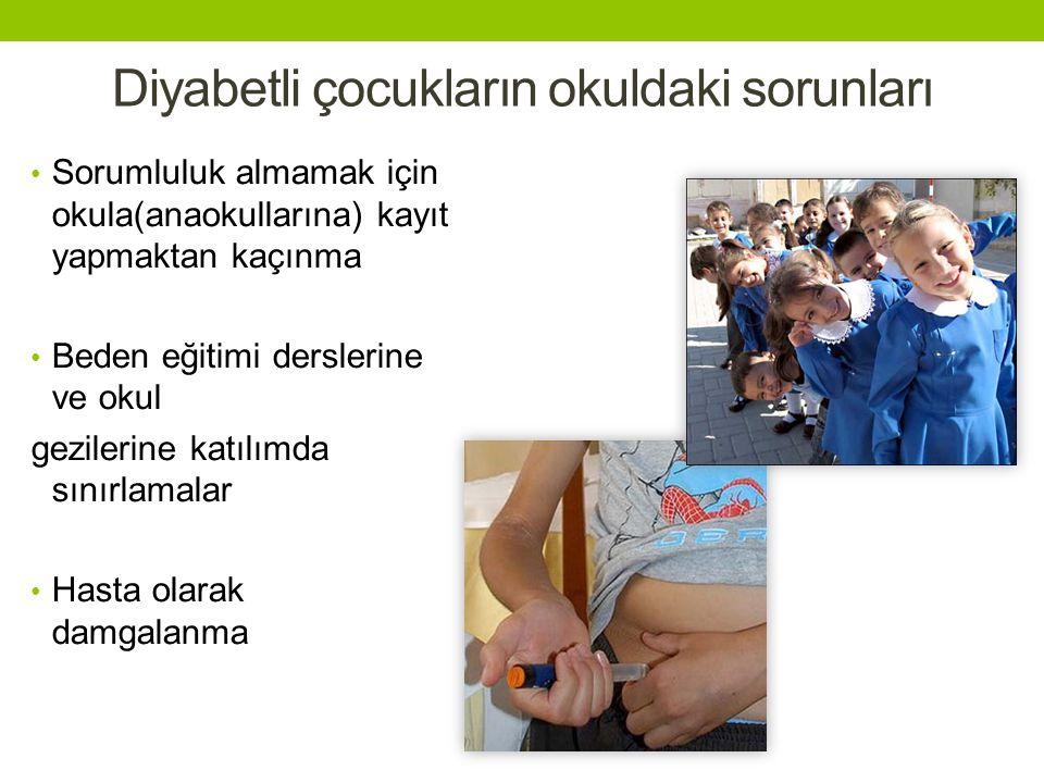 Diyabetli çocukların okuldaki sorunları Sorumluluk almamak için okula(anaokullarına) kayıt yapmaktan kaçınma Beden eğitimi derslerine ve okul gezilerine katılımda sınırlamalar Hasta olarak damgalanma