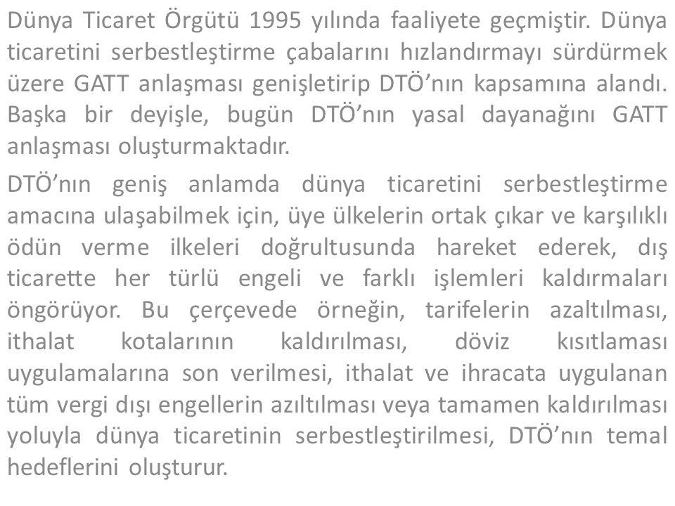 Dünya Ticaret Örgütü 1995 yılında faaliyete geçmiştir. Dünya ticaretini serbestleştirme çabalarını hızlandırmayı sürdürmek üzere GATT anlaşması genişl