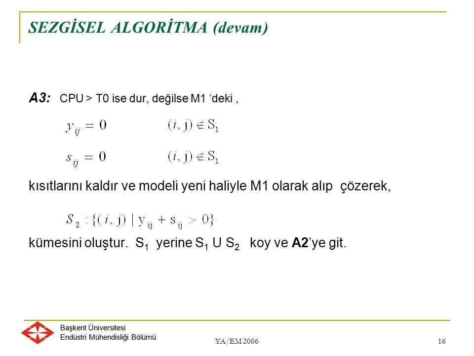 Başkent Üniversitesi Endüstri Mühendisliği Bölümü YA/EM 2006 16 SEZGİSEL ALGORİTMA (devam) A3: CPU > T0 ise dur, değilse M1 'deki, kısıtlarını kaldır