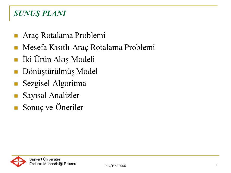 Başkent Üniversitesi Endüstri Mühendisliği Bölümü YA/EM 2006 3 ARAÇ ROTALAMA PROBLEMİ Gezgin Satıcı Probleminin uzantısı (NP zor problemler) Bir veya birden fazla depo Belirli sayıda müşteri (dağıtım veya toplama) Belirli sayıda araç
