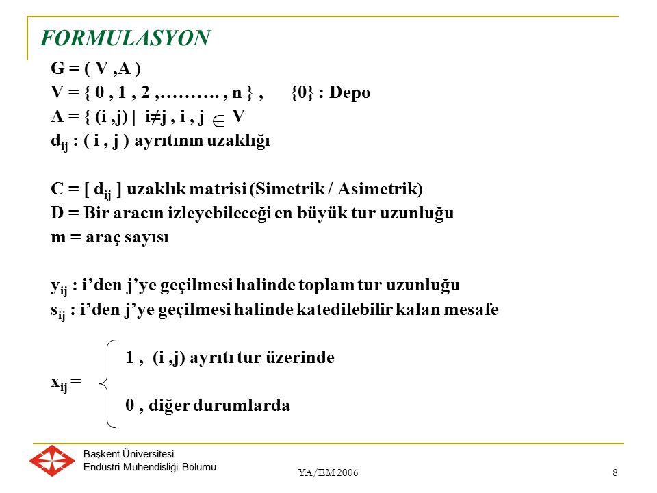 Başkent Üniversitesi Endüstri Mühendisliği Bölümü YA/EM 2006 8 FORMULASYON G = ( V,A ) V = { 0, 1, 2,………., n }, {0} : Depo A = { (i,j) | i≠j, i, j V d