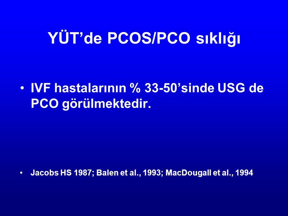 YÜT'de PCOS/PCO sıklığı IVF hastalarının % 33-50'sinde USG de PCO görülmektedir. Jacobs HS 1987; Balen et al., 1993; MacDougall et al., 1994