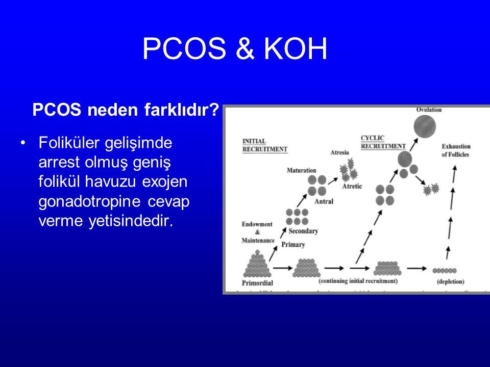 PCOS & KOH PCOS neden farklıdır? Foliküler gelişimde arrest olmuş geniş folikül havuzu exojen gonadotropine cevap verme yetisindedir.