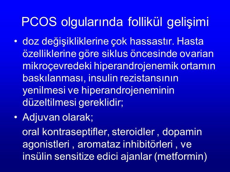 PCOS olgularında follikül gelişimi doz değişikliklerine çok hassastır. Hasta özelliklerine göre siklus öncesinde ovarian mikroçevredeki hiperandrojene