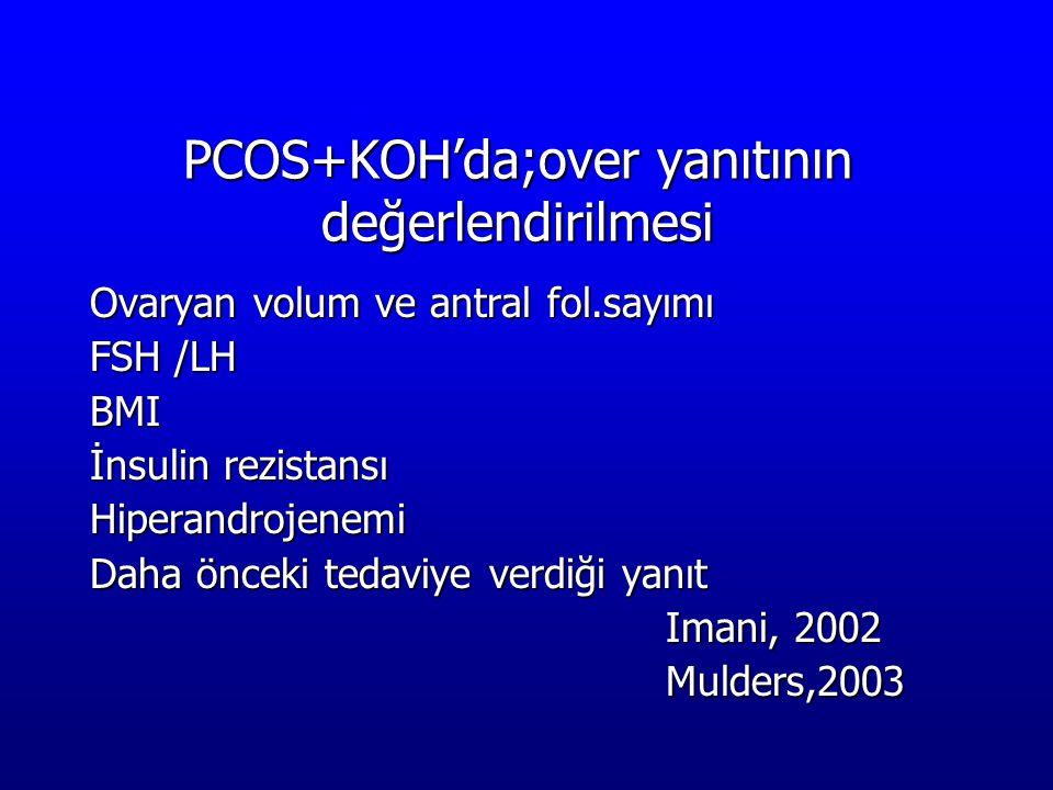 PCOS+KOH'da;over yanıtının değerlendirilmesi Ovaryan volum ve antral fol.sayımı FSH /LH BMI İnsulin rezistansı Hiperandrojenemi Daha önceki tedaviye v
