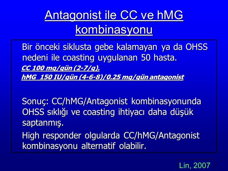 Antagonist ile CC ve hMG kombinasyonu Bir önceki siklusta gebe kalamayan ya da OHSS nedeni ile coasting uygulanan 50 hasta. Bir önceki siklusta gebe k