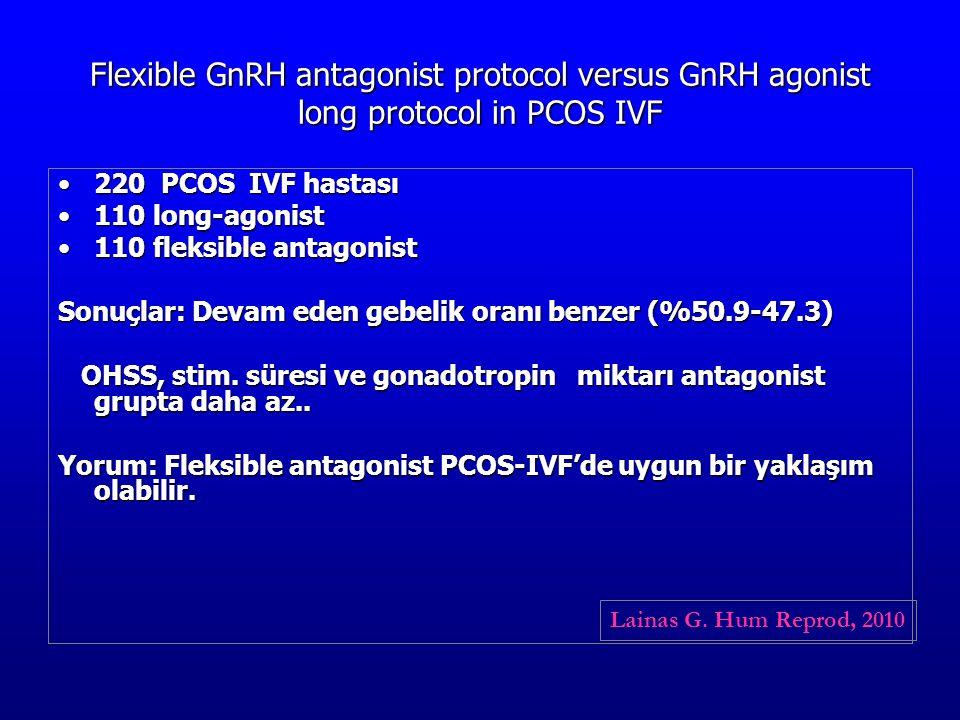 Flexible GnRH antagonist protocol versus GnRH agonist long protocol in PCOS IVF 220 PCOS IVF hastası220 PCOS IVF hastası 110 long-agonist110 long-agon