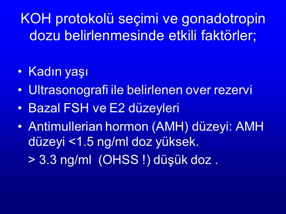 KOH protokolü seçimi ve gonadotropin dozu belirlenmesinde etkili faktörler; Kadın yaşı Ultrasonografi ile belirlenen over rezervi Bazal FSH ve E2 düze