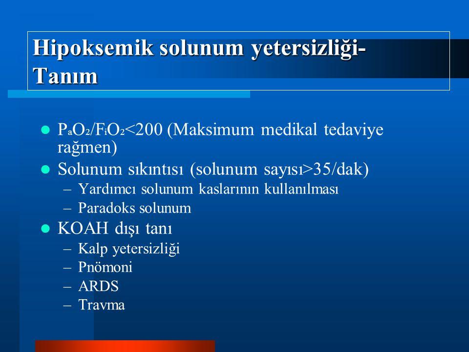 Hipoksemik solunum yetersizliği- Tanım P a O 2 /F i O 2 <200 (Maksimum medikal tedaviye rağmen) Solunum sıkıntısı (solunum sayısı>35/dak) –Yardımcı solunum kaslarının kullanılması –Paradoks solunum KOAH dışı tanı –Kalp yetersizliği –Pnömoni –ARDS –Travma
