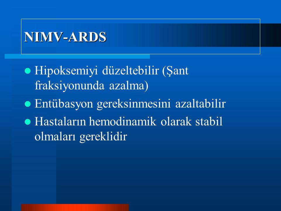 NIMV-ARDS Hipoksemiyi düzeltebilir (Şant fraksiyonunda azalma) Entübasyon gereksinmesini azaltabilir Hastaların hemodinamik olarak stabil olmaları gereklidir