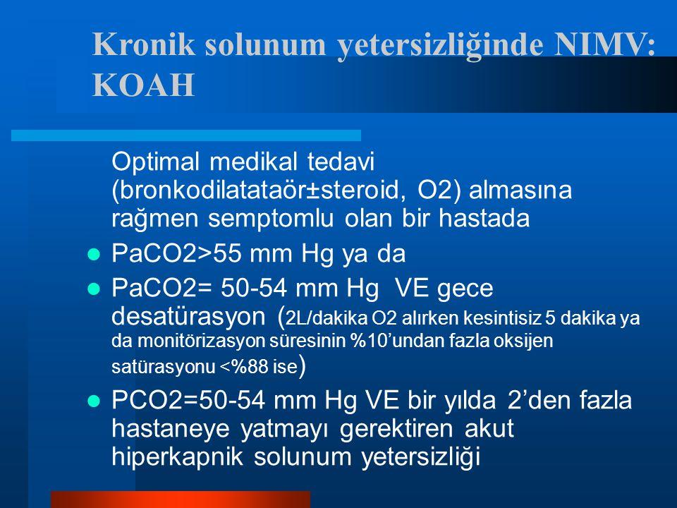 Kronik solunum yetersizliğinde NIMV: KOAH Optimal medikal tedavi (bronkodilatataör±steroid, O2) almasına rağmen semptomlu olan bir hastada PaCO2>55 mm Hg ya da PaCO2= 50-54 mm Hg VE gece desatürasyon ( 2L/dakika O2 alırken kesintisiz 5 dakika ya da monitörizasyon süresinin %10'undan fazla oksijen satürasyonu <%88 ise ) PCO2=50-54 mm Hg VE bir yılda 2'den fazla hastaneye yatmayı gerektiren akut hiperkapnik solunum yetersizliği