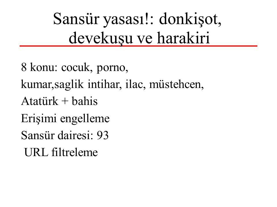 Sansür yasası!: donkişot, devekuşu ve harakiri 8 konu: cocuk, porno, kumar,saglik intihar, ilac, müstehcen, Atatürk + bahis Erişimi engelleme Sansür dairesi: 93 URL filtreleme